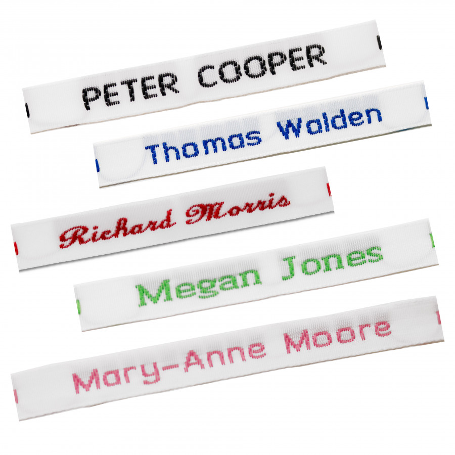 Pre cut sew on name tapes